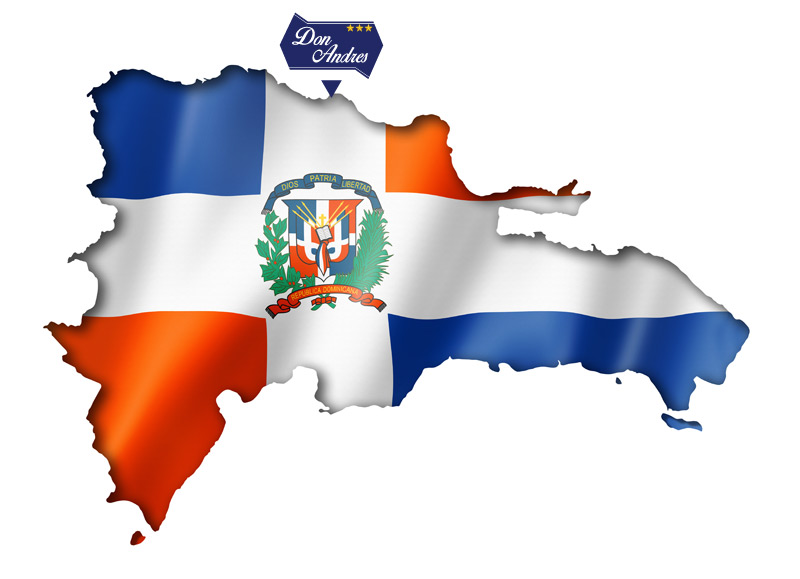 Landmark Dominican Republic with flag